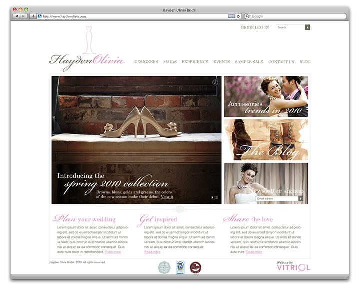 Hayden Olivia Bridal home page