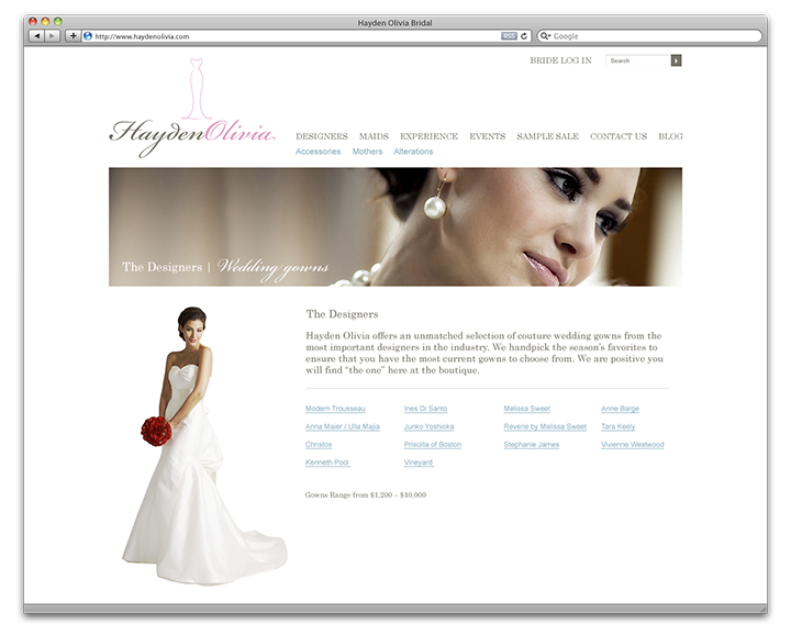 Hayden Olivia Bridal Designers page