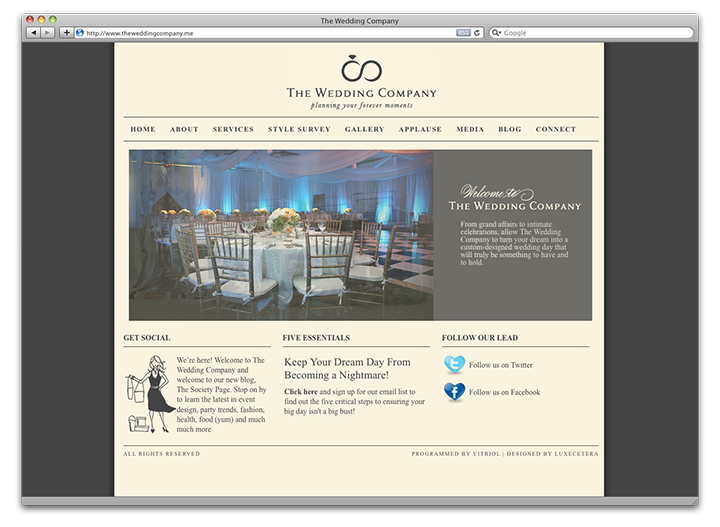 The Wedding Company Home page